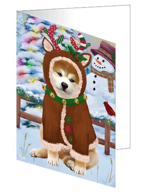 Christmas Gingerbread House Candyfest Akita Dog Note Card NCD72896
