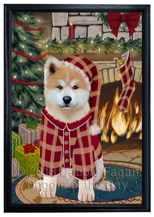 The Stocking was Hung Akita Dog Framed Canvas Print Wall Art FCVS174667