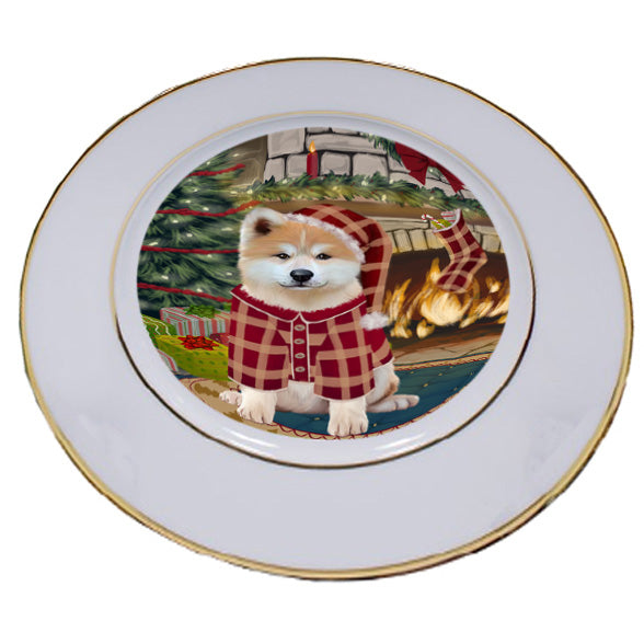 The Stocking was Hung Akita Dog Porcelain Plate PLT53503