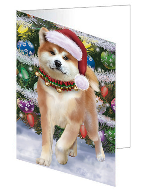Trotting in the Snow Akita Dog Note Card NCD68078