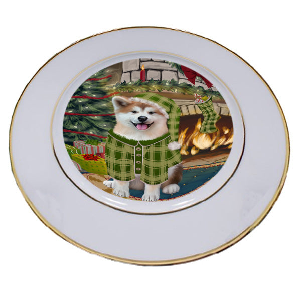 The Stocking was Hung Akita Dog Porcelain Plate PLT53504