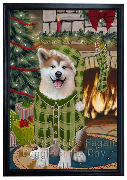 The Stocking was Hung Akita Dog Framed Canvas Print Wall Art FCVS174684