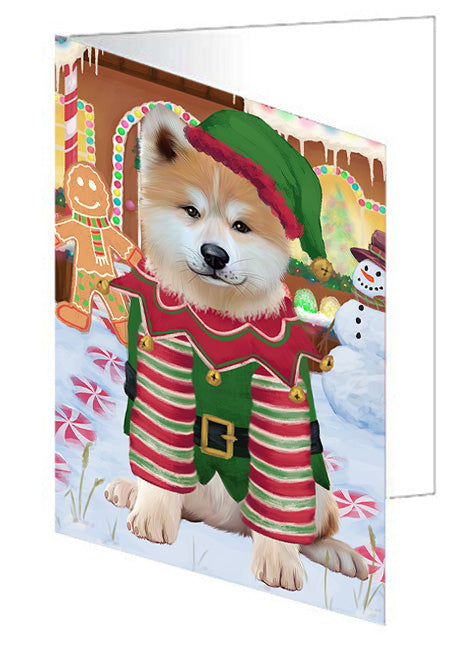 Christmas Gingerbread House Candyfest Akita Dog Note Card NCD72899