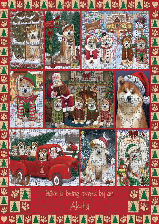 Love is Being Owned Christmas Akita Dogs Puzzle with Photo Tin PUZL99224
