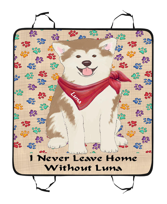 Personalized I Never Leave Home Paw Print Akita Dogs Pet Back Car Seat Cover