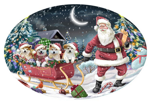 Santa Sled Dogs Christmas Happy Holidays Akitas Dog Oval Envelope Seals OVE62836