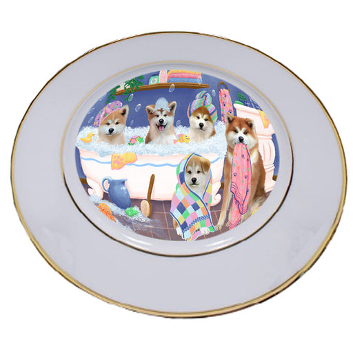 Rub A Dub Dogs In A Tub Akitas Dog Porcelain Plate PLT55099