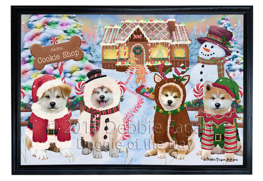 Holiday Gingerbread Cookie Shop Akitas Dog Framed Canvas Print Wall Art FCVS190613