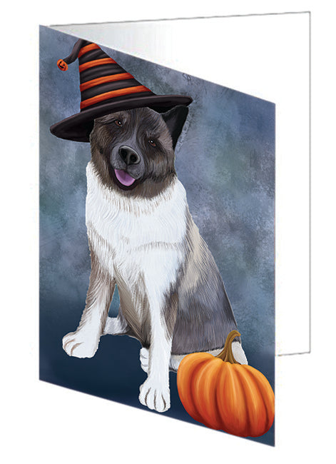 Happy Halloween Akita Dog Wearing Witch Hat with Pumpkin Note Card NCD68765