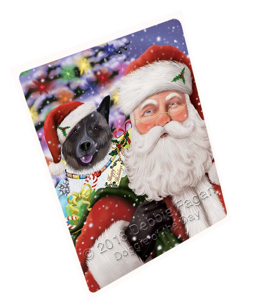 Santa Carrying Akita Dog and Christmas Presents Blanket BLNKT118695