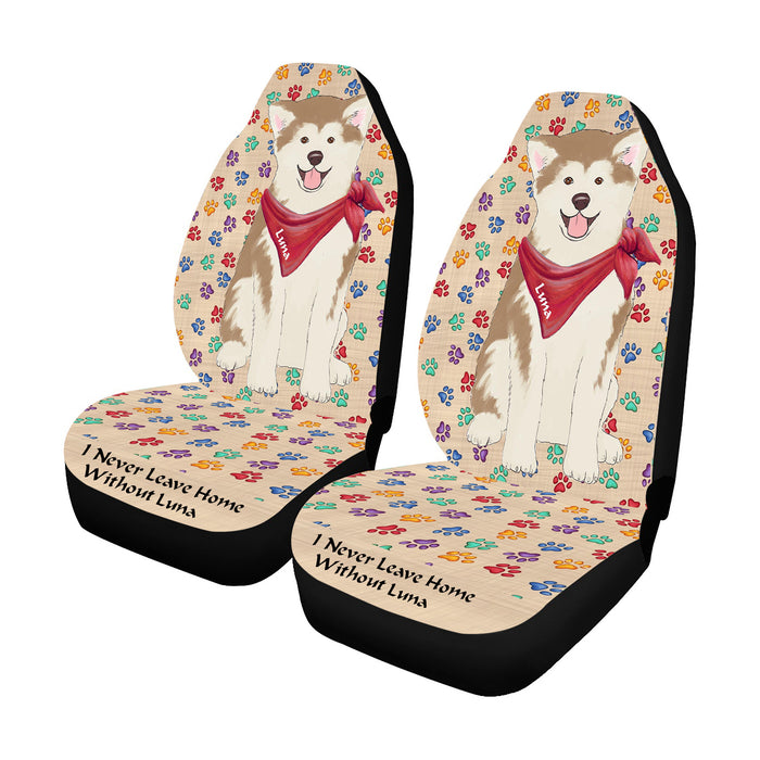 Personalized I Never Leave Home Paw Print Akita Dogs Pet Front Car Seat Cover (Set of 2)