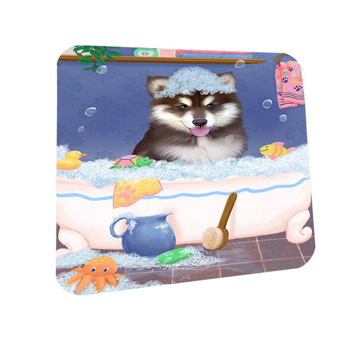 Rub A Dub Dog In A Tub Alaskan Malamute Dog Coasters Set of 4 CST57243