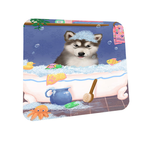 Rub A Dub Dog In A Tub Alaskan Malamute Dog Coasters Set of 4 CST57244