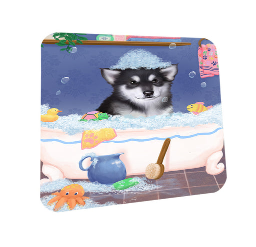 Rub A Dub Dog In A Tub Alaskan Malamute Dog Coasters Set of 4 CST57245