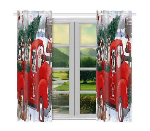Christmas Santa Express Delivery Red Truck Alaskan Malamute Dogs Window Curtain