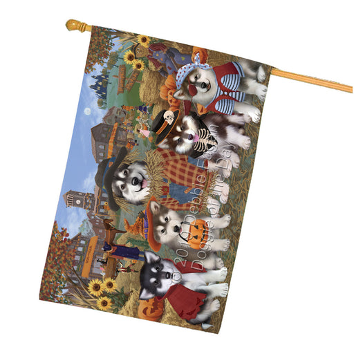 Halloween Round Town And Fall Pumpking Scarecrow Both Alaskan Malamute Dogs Garden Flag GFLG65559