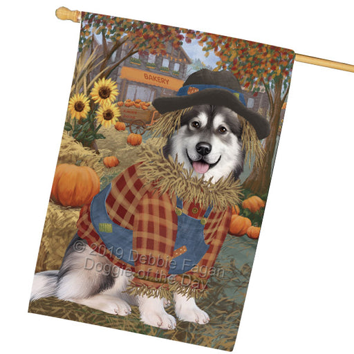 Halloween Round Town And Fall Pumpking Scarecrow Both Alaskan Malamute Dogs Garden Flag GFLG65620