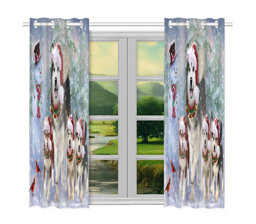 Christmas Running Fammily Alaskan Malamute Dogs Window Curtain