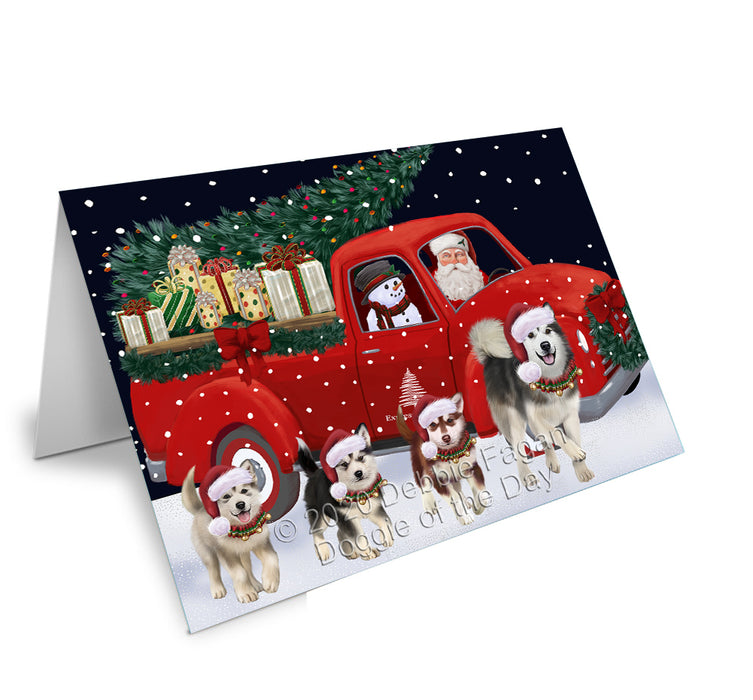 Christmas Express Delivery Red Truck Running Alaskan Malamute Dogs Greeting Card GCD75041