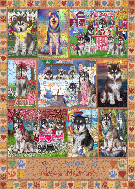 Love is Being Owned Alaskan Malamute Dog Beige Puzzle with Photo Tin PUZL98164