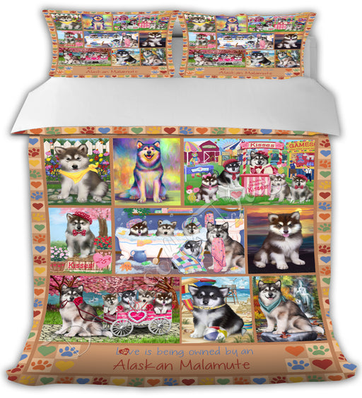 Love is Being Owned Alaskan Malamute Dogs Beige Bed Duvet Cover DVTCVR50583