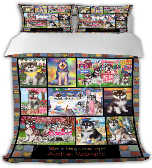 Love is Being Owned Alaskan Malamute Dogs Grey Bed Duvet Cover DVTCVR50072