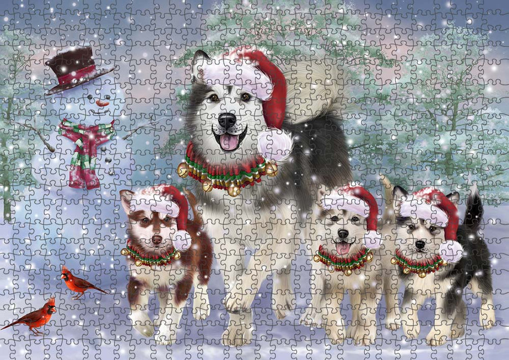 Christmas Running Family Alaskan Malamutes Dog Puzzle with Photo Tin PUZL90044