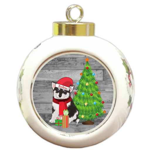 Custom Personalized Alaskan Malamute Dog With Tree and Presents Christmas Round Ball Ornament