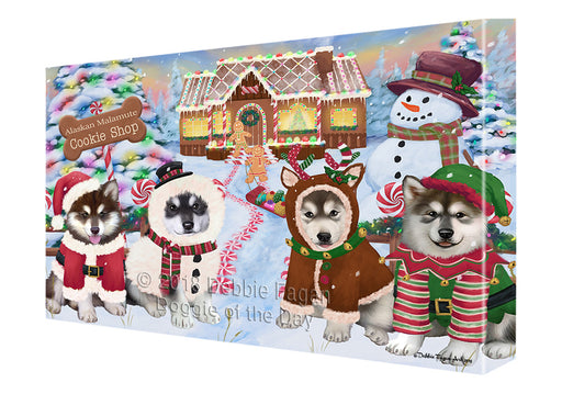 Holiday Gingerbread Cookie Shop Alaskan Malamutes Dog Canvas Print Wall Art Décor CVS127061