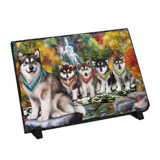 Scenic Waterfall Alaskan Malamutes Dog Photo Slate SLT49664