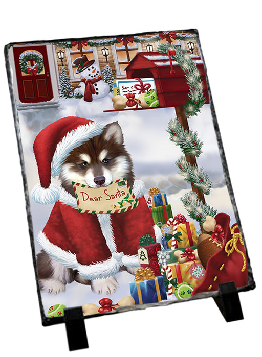 Alaskan Malamute Dog Dear Santa Letter Christmas Holiday Mailbox Sitting Photo Slate SLT57485