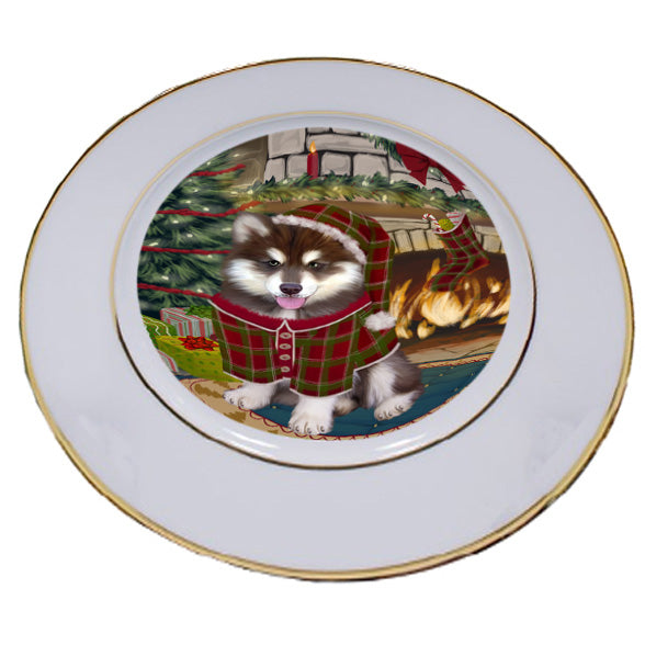 The Stocking was Hung Alaskan Malamute Dog Porcelain Plate PLT53505