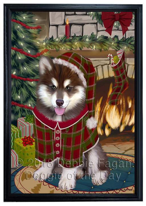The Stocking was Hung Alaskan Malamute Dog Framed Canvas Print Wall Art FCVS174701