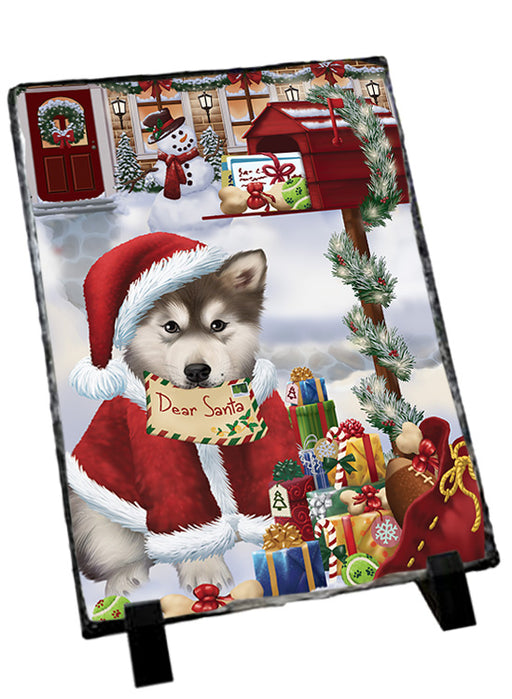 Alaskan Malamute Dog Dear Santa Letter Christmas Holiday Mailbox Sitting Photo Slate SLT57486