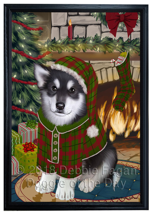 The Stocking was Hung Alaskan Malamute Dog Framed Canvas Print Wall Art FCVS174718