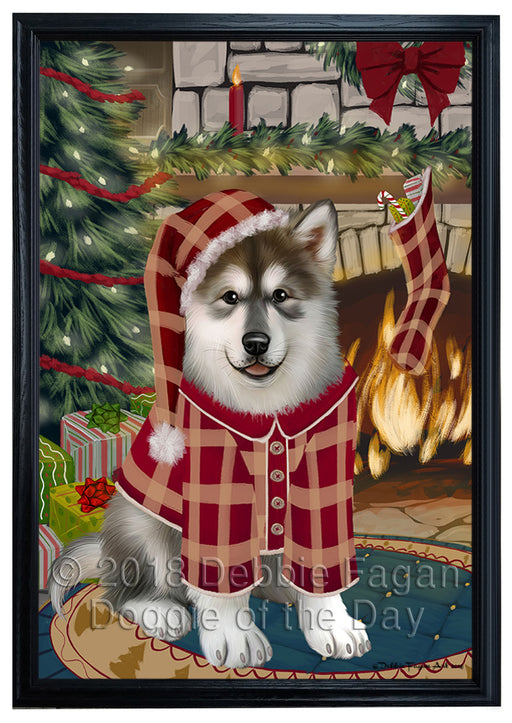 The Stocking was Hung Alaskan Malamute Dog Framed Canvas Print Wall Art FCVS174735
