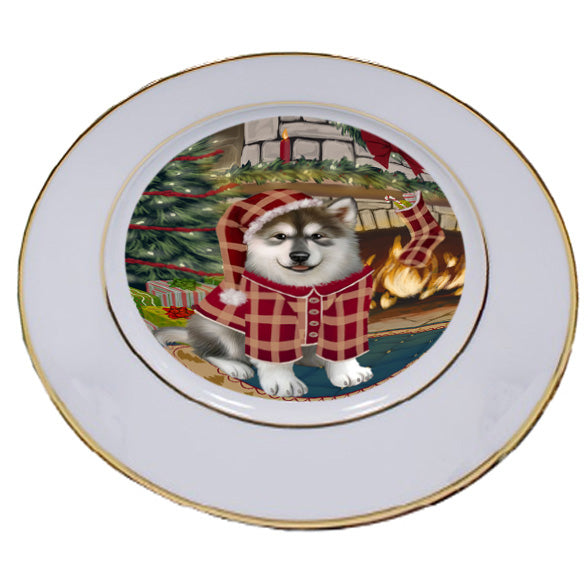 The Stocking was Hung Alaskan Malamute Dog Porcelain Plate PLT53507