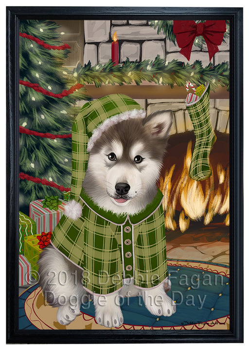 The Stocking was Hung Alaskan Malamute Dog Framed Canvas Print Wall Art FCVS174752