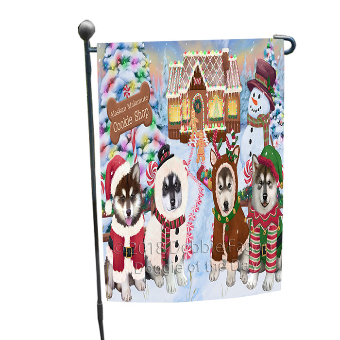 Holiday Gingerbread Cookie Shop Alaskan Malamutes Dog Garden Flag GFLG56641