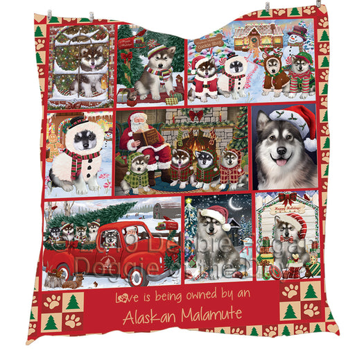 Love is Being Owned Christmas Alaskan Malamute Dogs Quilt