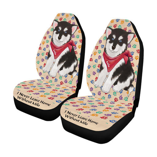 Personalized I Never Leave Home Paw Print Alaskan Malamute Dogs Pet Front Car Seat Cover (Set of 2)