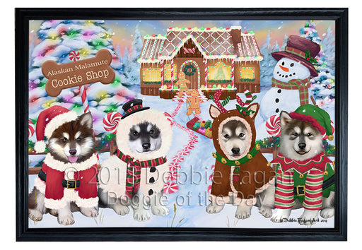 Holiday Gingerbread Cookie Shop Alaskan Malamutes Dog Framed Canvas Print Wall Art FCVS190630