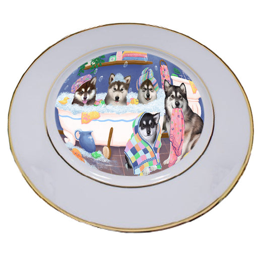 Rub A Dub Dogs In A Tub Alaskan Malamutes Dog Porcelain Plate PLT55100