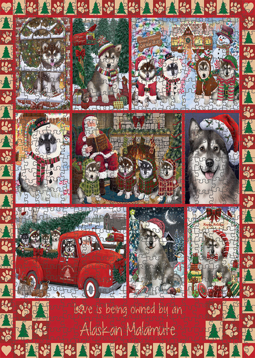 Love is Being Owned Christmas Alaskan Malamute Dogs Puzzle with Photo Tin PUZL99228