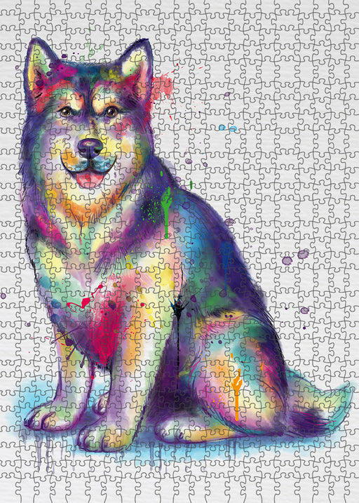 Watercolor Alaskan Malamute Dog Puzzle with Photo Tin PUZL97076