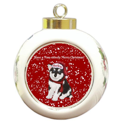 Custom Personalized Pawsitively Alaskan Malamute Dog Merry Christmas Round Ball Ornament