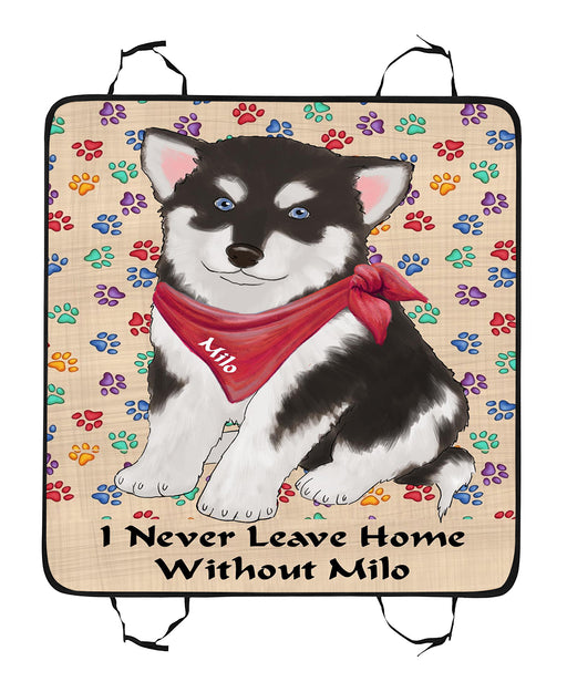 Personalized I Never Leave Home Paw Print Alaskan Malamute Dogs Pet Back Car Seat Cover