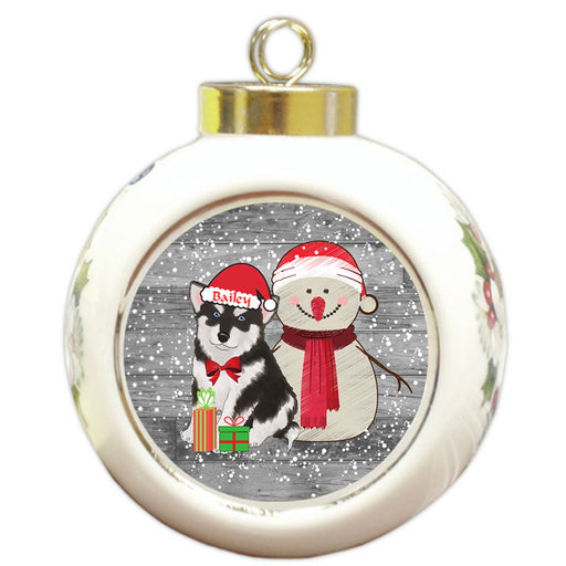 Custom Personalized Snowy Snowman and Alaskan Malamute Dog Christmas Round Ball Ornament
