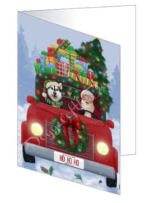 Christmas Honk Honk Red Truck Here Comes with Santa and Alaskan Malamute Dog Greeting Card GCD75464