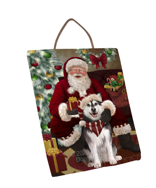 Santa's Christmas Surprise Alaskan Malamute Dog Wall Décor Hanging Photo Slate SLTH58404
